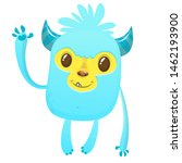 Stock photo cartoon happy bigfoot cute excited monster illustration for halloween 1462193900