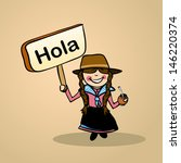 Trendy uruguayan woman says Hello holding a wooden sign sketch. - stock photo