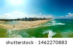 Small photo of Aerial panoramic view of the coastal strip Mei Ami Beach, Ashdod, Israel at July 2019.