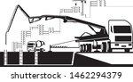 concrete pump truck  working on ... | Shutterstock .eps vector #1462294379