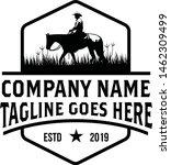 Stock vector retro vintage horse cowboy emblem label logo design vector 1462309499
