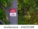 bold no hunting sign posted on... | Shutterstock . vector #146232188