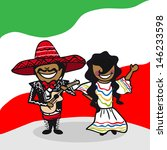Mexican man and woman cartoon couple with national flag background. - stock photo