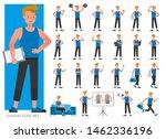 set of fitness trainer...   Shutterstock .eps vector #1462336196