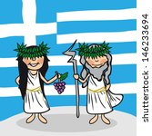 Greek man and woman cartoon couple with national flag background. - stock photo