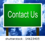 Green Contact Us sign guidepost - stock photo