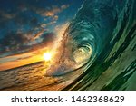 Ocean Sunset Wave  Clear Water...