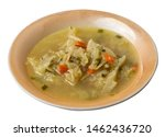 cabbage soup on a lighnt brown  ...