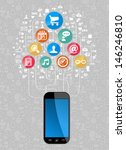 social media network icon set... | Shutterstock . vector #146246810