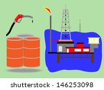 Offshore oil rig  platform in the sea Gas pump nozzle .Vector illustration eps10