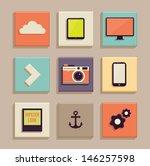 vintage icons set. retro... | Shutterstock .eps vector #146257598