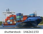 container vessel on kiel canal  ... | Shutterstock . vector #146261153