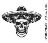 Skull In Mexican Sombrero Hat...