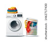 realistic washing machine with... | Shutterstock .eps vector #1462717430