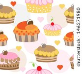 cup cake seamless | Shutterstock .eps vector #146271980