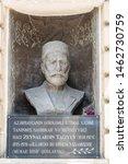Small photo of Baku, Azerbaijan - May 5, 2019. Bust sculpture of Azerbaijani national industrial magnate and philanthropist Zeynalabdin Taghiyev (1838-1924), by sculptor Iosif Goslavsky.