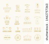 set of golden hand drawn coffee ... | Shutterstock .eps vector #1462757363