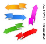 set of paper colorful arrows ... | Shutterstock .eps vector #146281790