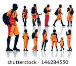 set of people silhouettes.... | Shutterstock .eps vector #146284550