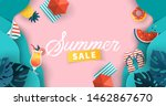 summer sale banner design with... | Shutterstock .eps vector #1462867670