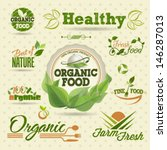 organic fresh vector labels and ... | Shutterstock .eps vector #146287013