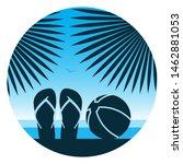 vector flip flops and beach...   Shutterstock .eps vector #1462881053