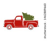vintage red pickup  truck with... | Shutterstock .eps vector #1462889660