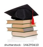 grad hat with books isolated on ... | Shutterstock . vector #146293610