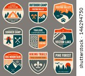 Set of vintage outdoor camp badges and logo emblems | Shutterstock vector #146294750
