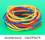 colorful rubber bands on green... | Shutterstock . vector #146295674