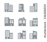 commercial building icons  | Shutterstock .eps vector #146306024