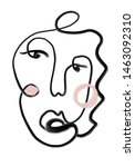 one line continuous face in... | Shutterstock . vector #1463092310