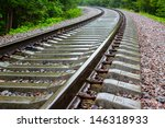 Railway Track  In A Green...