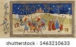 medieval scene. king queen pray ...   Shutterstock .eps vector #1463210633