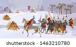 medieval battle scene.... | Shutterstock .eps vector #1463210780