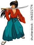 cartoon manga style samurai isolated on white