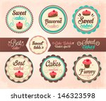 collection of cupcake labels | Shutterstock .eps vector #146323598