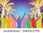 summer beach party  cheerful... | Shutterstock .eps vector #1463311793