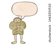 Stock photo cartoon bigfoot with speech bubble in retro texture style 1463354510