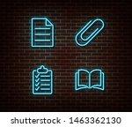 neon file  checklist  book ... | Shutterstock .eps vector #1463362130