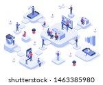 isometric work team. cloud...   Shutterstock .eps vector #1463385980