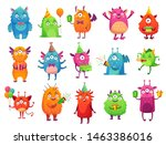 Stock vector cartoon party monsters cute monster happy birthday gifts funny alien mascot and monster with 1463386016