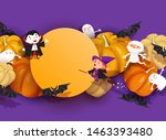 happy halloween design. 3d... | Shutterstock .eps vector #1463393480