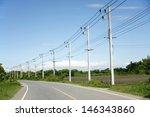 Row Of Wire Pole Inside Road O...