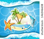 summer beach with palm trees ... | Shutterstock .eps vector #146346638