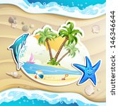 summer beach with palm trees ... | Shutterstock .eps vector #146346644