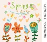 cute cartoon birds on flowers...   Shutterstock .eps vector #146346854