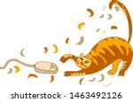 Stock vector tabby cat catches a computer mouse caricature of a cat on a white background 1463492126
