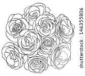 bouquet of roses. outline | Shutterstock .eps vector #146355806