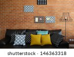 colorful pillows on a sofa with ... | Shutterstock . vector #146363318